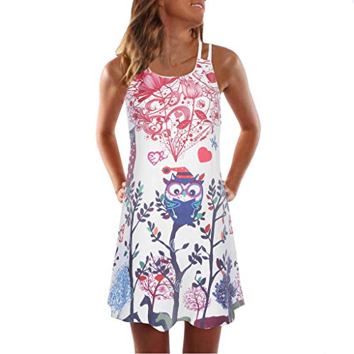 Women's 3D Print Dress Vintage Floral Print Halter Mide Dress Sleeveless Casual Beach Sundress