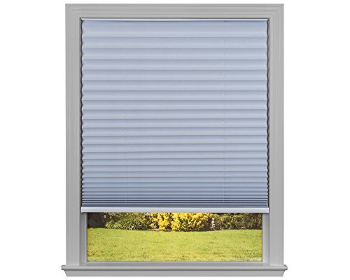 Easy Lift Trim-at-Home Cordless Pleated Light Blocking Fabric Shade White, 48 in x 64 in, (Fits windows 31
