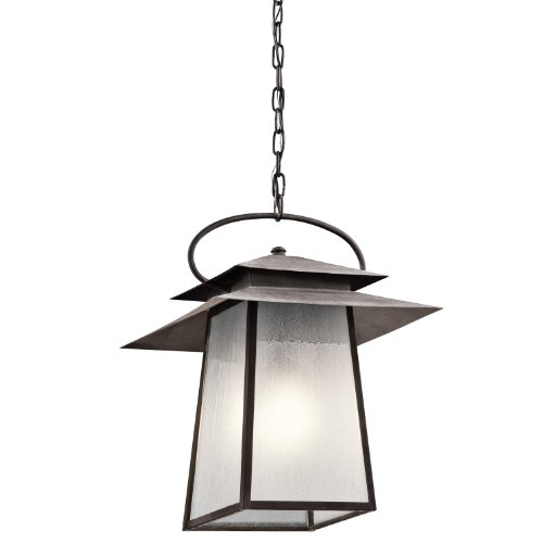 Kichler 49535WZC Woodland Lake 1LT 20IN Exterior Hanging Lantern, Weathered Zinc Finish with Clear Seedy/Inside Etched (Kichler Copper Outdoor Pendant)
