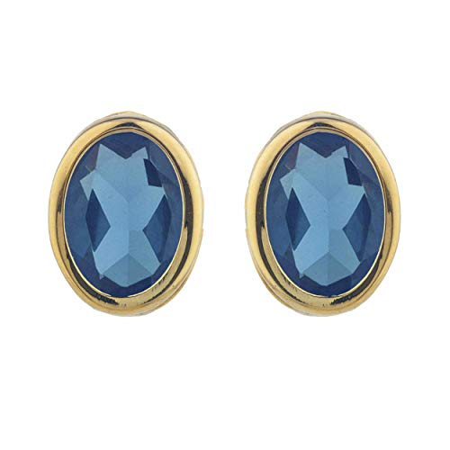London Blue Topaz Oval Bezel Stud Earrings 14Kt Yellow Gold Rose Gold Silver