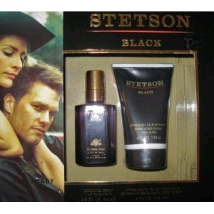 STETSON BLACK COLOGNE SPRAY 1.5 Oz & AFTER SHAVE BALM 4 -