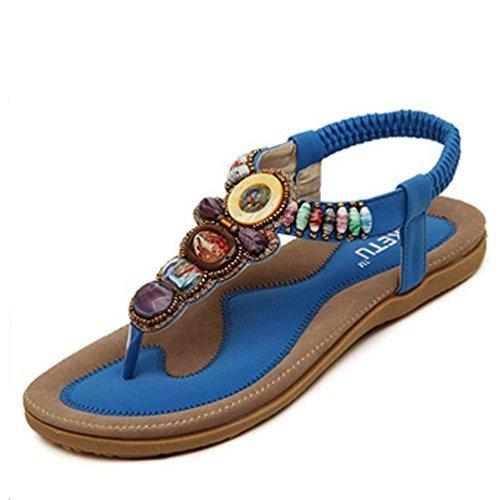 Malloom Sandalias de vestir para mujer bohemio sandalias planas sandalias de espina de pescado Azul