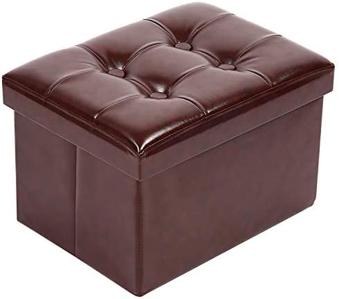 Small Leather Ottoman Foot Rest Stool Short Ottoman Stool Folding Storage Ottoman Thicker Foam Especially