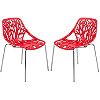 LeisureMod Modern Asbury Dining Chair with Chromed Legs, Red, Set of 2