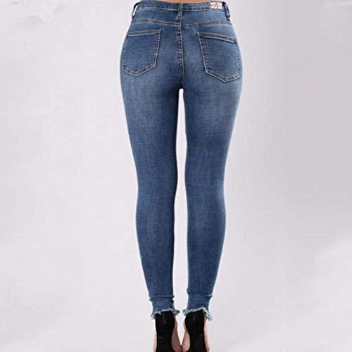 Pantaloni Betrothales Matita Jeans Destroy Donna Pantalone Blau Slim A Esterno Elastici Skinny Trousers Ricamati Small 5qr7qZpWB