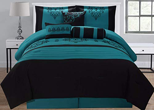 Empire Home 7 Piece Black & Teal Flocking Oversized Comforter Set (Queen Size)