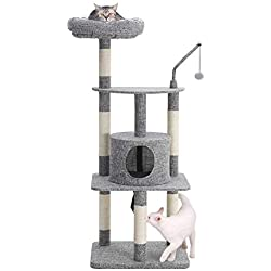 FEANDREA Multi-Level Cat Tree with Sisal-Covered Scratching Posts, Padded Condo and Top Perch, Activity Centre Cat Tower Furniture, Linenette Surface, Light Grey UPCT64W