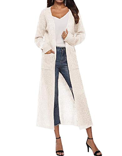 Size Plus Coat Top Women Autumn Solid Cardigan Howme Split White Knitted PUFqwxxZ