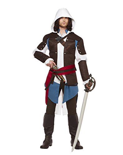 Spirit Halloween Adult Edward Kenway Costume - Assassins Creed,Brown,XL 48-50 (Assassin Halloween Costumes)
