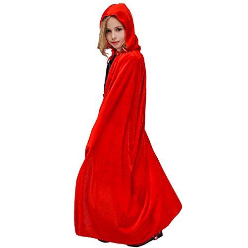 flatwhite Girl's Full Length Crushed Velvet Hooded Cape Costumes 57.48in (Red)