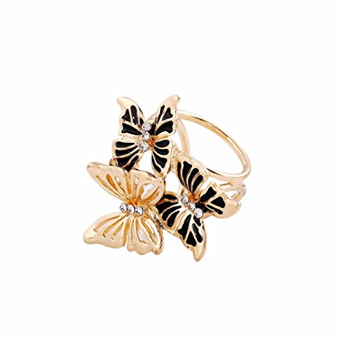 Mariposa Curtain (Usstore 1PC Women Lady Tricyclic Three Butterfly Corsage Brooch Scarf Buckle Brooch Jewelry Decorate Gift (Black))