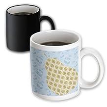 PS Creations - Blue Leaves with Gold Pear - Fruits - Kitchen Art - 11oz Magic Transforming Mug (mug_108947_3)
