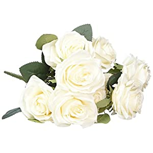 SOLEDI 10 Head French Rose Silk Flower Arrangement Artificial Fake Bouquet Wedding Living Room Table Home Garden Decor 85