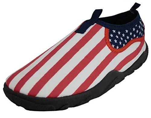 E1172M Men's Water Shoes Aqua Socks American Flag USA Slip on Pool Beach Surf Yoga Dance Exercise (11 D(M) US, US Flag Print)