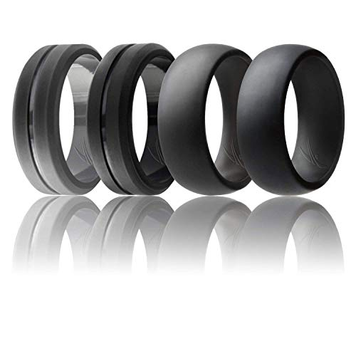 ROQ Silicone Wedding Ring for Men, Set of 4 Elegant, Affordable Silicone Rubber Wedding Bands, Brushed Top Beveled Edges -Black, Grey - Size 12