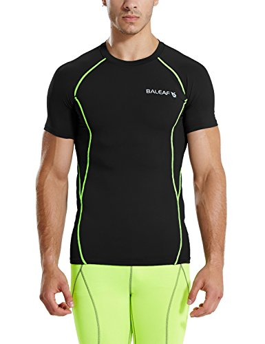 Baleaf Men's Short Sleeve Running Fitness Workout Compression Base Layer Shirt