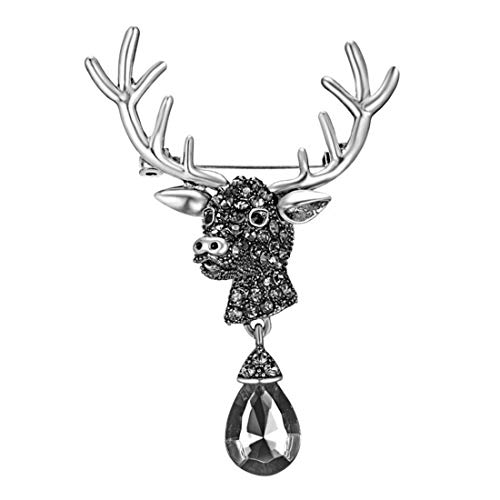 UINKE Crystal Rhinestone Christmas Elk Deer Brooch Pin Christmas Decoration Party Favor Gift for Women Men Kids,Silver (Charming Favors Silver Bell)