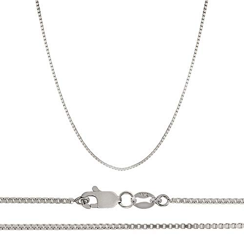 Orostar 14K Solid Yellow OR White Gold 1mm Box Chain Necklace, 13