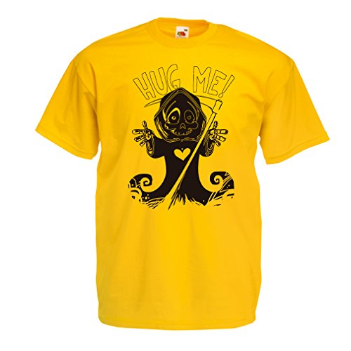 T Shirts for Men The Death is Coming! Halloween Skeleton Clothes, Evil Skull Sickle (XX-Large Yellow Multi -