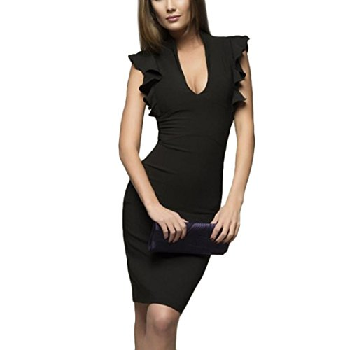 Pervobs Dress Clearance! Women Summer Solid Butterfly Sleeve V-Neck Slim Casual Working Sleeveless Pencil Dress (L, ()