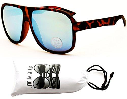 A156-vp Style Vault Turbo Aviator Sunglasses (SIRE Mt Tortoise Brown-Green Mirror, ()