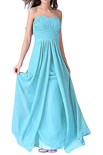 Ivydressing Rueckenfrei Brautfernkleid Partykleid aermellos Chiffon Herzform Schnuerung Damen lang Abendkleid Blau Sweetheart Falte YrfzYHn