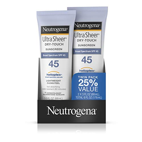 (Neutrogena Ultra Sheer Dry-Touch Water Resistant and Non-Greasy Sunscreen Lotion with Broad Spectrum SPF 45, 3 fl. oz, Pack of 2)