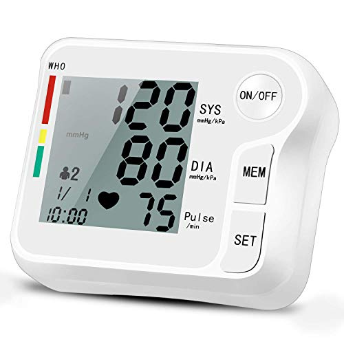 Wrist Blood Pressure Monitor, Portable Automatic Digital BP Monitor Irregular Heart Beat Detection with Large Display Screen Adjustable 5.3″-8.5″ Cuff for Home Travel Use