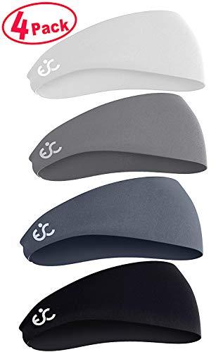 Ewedoos Headbands for Men, Mens Sweatband & Sports Headband for Running, Crossfit, Cycling, Yoga, Basketball - Performance Stretch & Moisture Wicking (4 Pack)