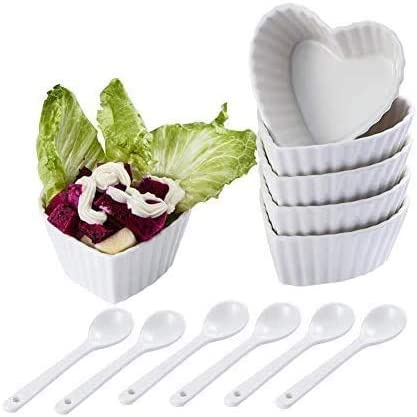Set of 6 Ramekins Collection Porcelain Soufle Dishes Dessert Bowls,Ice Cream Bowls Snack Bowls Soy Sauce Dish Soy Dipping Bowls White Lovely Heart-shaped Stripe Rims Porcelain Dip Bowls,3.5 Oz