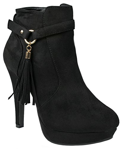 Women Khole Black Tassel Strap Decor Side Zip Stiletto High Heel Platform Ankle Booties-10