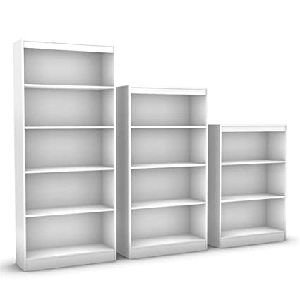 Svitlife White 4 Shelf Bookcase With 2 Adjustable Shelves Storage Bookshelf Wood 5