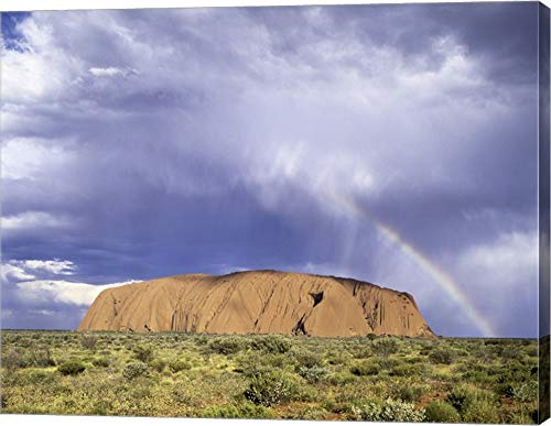 Rock Formation on a Landscape, Ayers Rock, Uluru-Kata Tjuta National Park Canvas Art Wall Picture, Gallery Wrap, 15 x 12 inches
