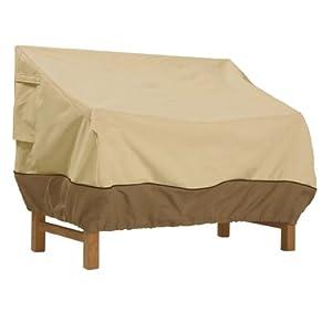 Classic Accessories 70982 Veranda Water-Resistant 58 Inch Patio Sofa/Loveseat Cover, Pbbl Earth Bark, One Size