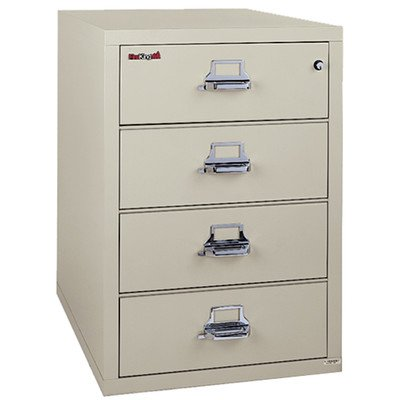 Fireproof 4-Drawer Card, Check and Note Vertical File Finish: Parchment, Lock: E-Lock by FireKing