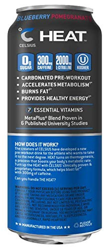 CELSIUS HEAT Blueberry Pomegranate Performance Energy Drink, ZERO Sugar,  16oz  Can, 12 Pack