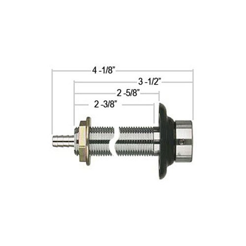 Kegco SHANK4-ASC - All SS Contact 4 1/8'' Long Beer Shank with Nipple Assembly - 1/4'' I.D. Bore