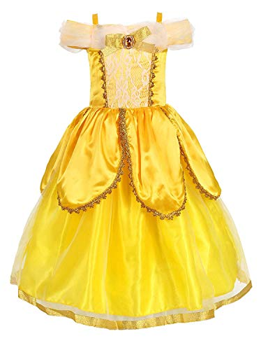 Princess Belle Costume Deluxe Party Fancy Dress Up for Girls(Yellow Two 7 Years) -