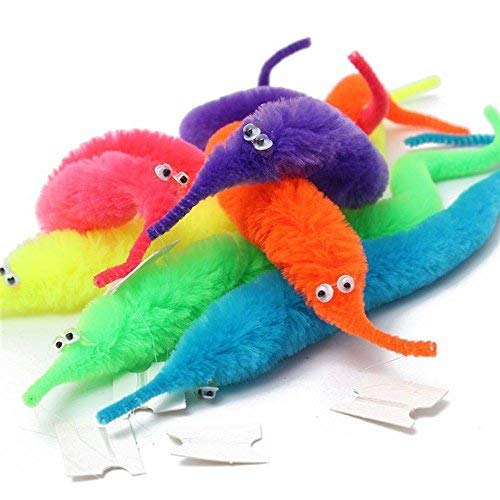 - Gazelle-Trading 6pcs Magic Trick Twisty Wiggly Worm Furry Teaser Fun Carnival Party Favors Toy Xmas Gift