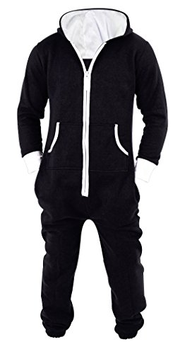SKYLINEWEARS Men's Unisex Onesie Jumpsuit One Piece Non Footed Pajama Playsuit Large Black -