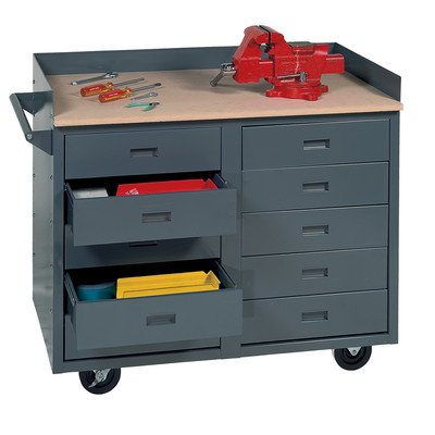 Edsal MB310 Industrial Gray One-piece Welded Steel Mobile Service Bench, 10 Drawers, 800 lb. Capacity, 34