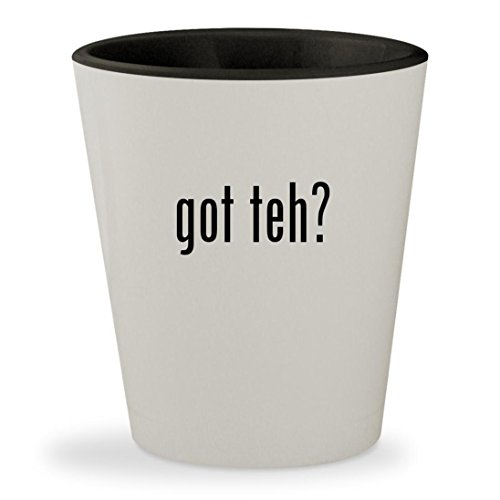 got teh? - White Outer & Black Inner Ceramic 1.5oz Shot Glass