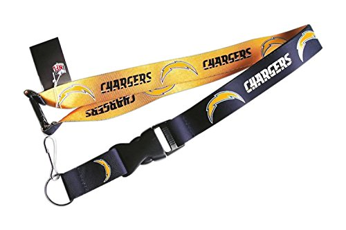 (aminco NFL Los Angeles Chargers Reversible Lanyard, Yellow/Blue)