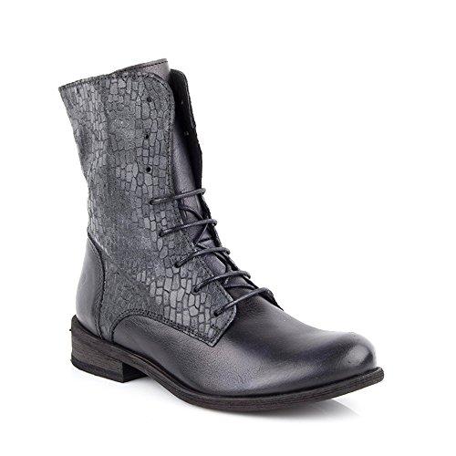 Felmini - Zapatos para Mujer - Enamorarse con Bomber 9090 - Botas con Cordones - Genuine Cuero - Negro - 0 EU Size
