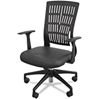 Balt Nylon Base Fly Mid Back Chair with Fixed Arms, Black