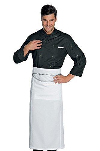 210 Tessuto Bottoni Giacca Bianco 22457 Cuoco Nero Antipanico 3xl Classica Isacco 100 Manica m² Cotone Gr Mezza 7PBqznw