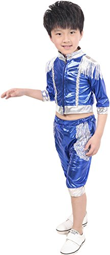Dance Costumes Retailers (AvaCostume Boys 2-piece set Hip-hop Dance Paillettes Costumes Performing Clothes, Blue, 6X)