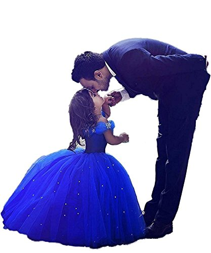 Girls Blue Prom Puffy Tulle Princess Ball Gowns Kids Pageant Flower Girls Dresses Royal Blue Size 4 -
