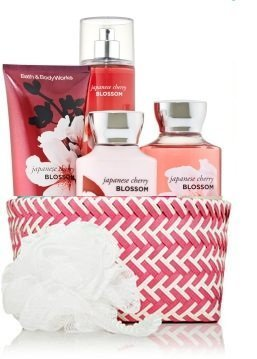 Bath & Body Works Signature Collection Japanese Cherry Blossom Fragrance Mist ~ Body Lotion ~ Shower Gel ~ Triple Moisture Body Cream & Shower Sponge Gift Set Basket by Bath & Body Works