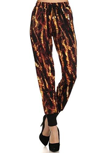 Cheetah Printed (ICONOFLASH Women's Printed Joggers with Elastic Waistband & Pockets (Electric Cheetah, Medium))